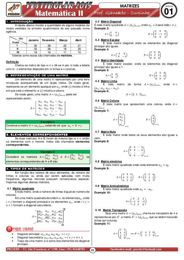 01PROEBE – Tv. São Francisco, nº 1190, fone: (91) 81448701 facebook/e-mail: proebe@hotmail.com Matemática II Prof. Giancar...