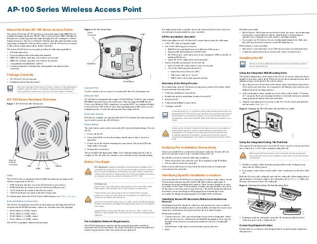 AP-100 Series Wireless Access Point About the Aruba AP-100 Series Access Points The Aruba AP-104 and AP-105 wireless acces...