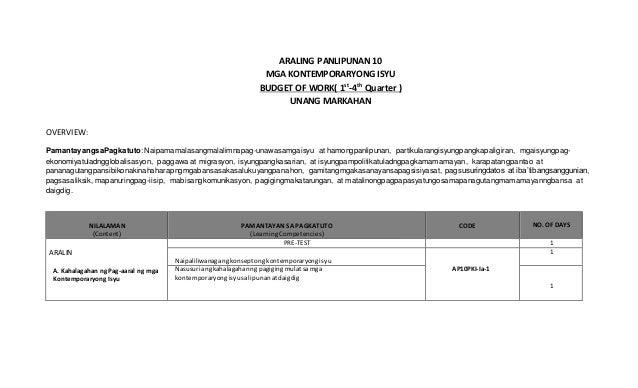 ARALING PANLIPUNAN 10 MGA KONTEMPORARYONG ISYU BUDGET OF WORK( 1st -4th Quarter ) UNANG MARKAHAN OVERVIEW: PamantayangsaPa...