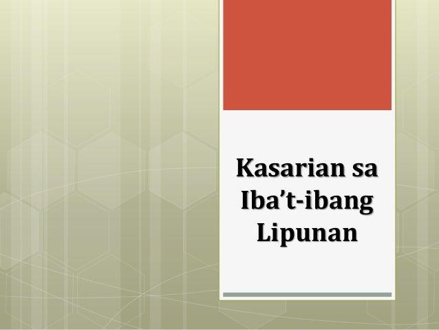 Kasarian sa Iba't-ibang Lipunan