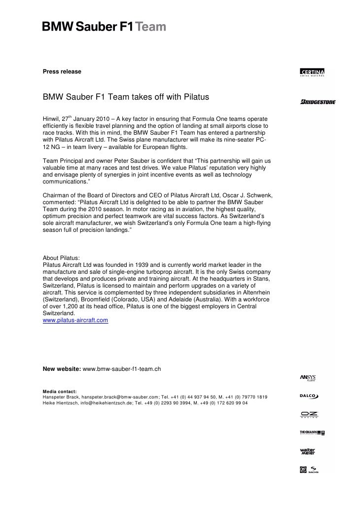 Press releaseBMW Sauber F1 Team takes off with Pilatus           thHinwil, 27 January 2010 – A key factor in ensuring that...