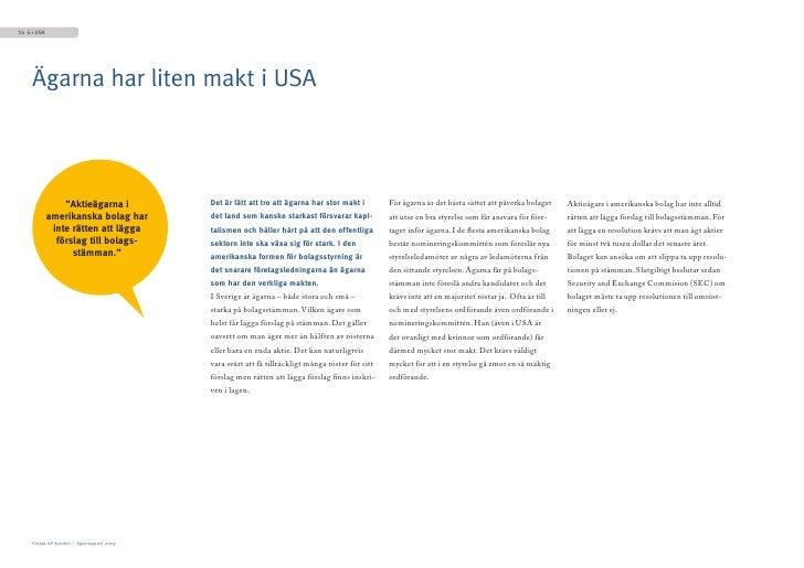 """14 G i USA          Ägarna har liten makt i USA                     """"Aktieägarna i            Det är lätt att tro att ägar..."""
