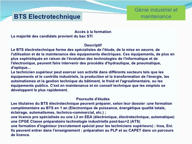 modele lettre de motivation bts electrotechnique