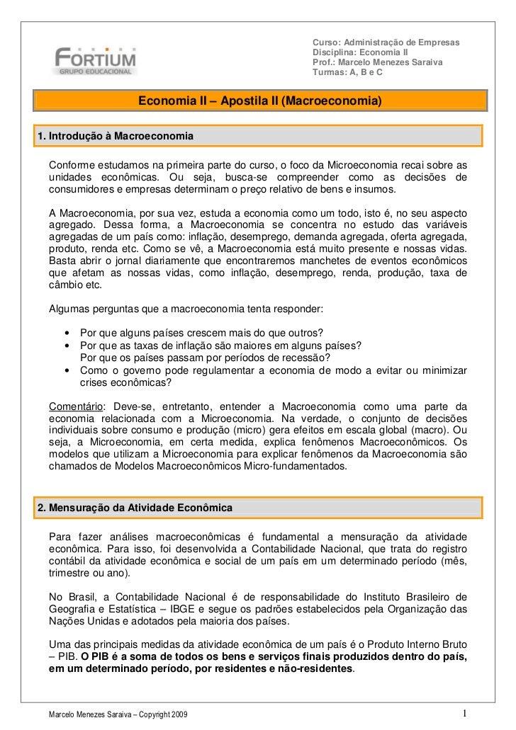 Curso: Administração de Empresas                                                        Disciplina: Economia II           ...