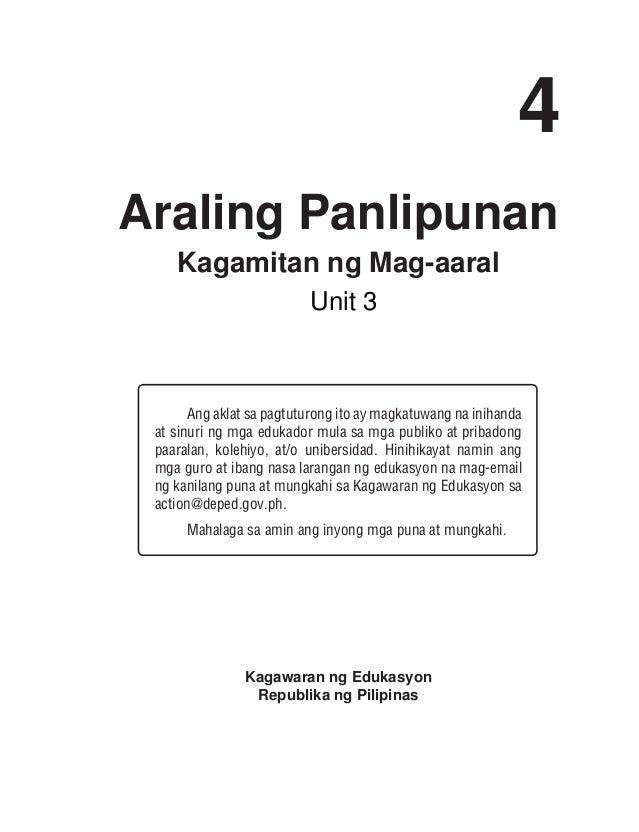 4 Araling Panlipunan Kagamitan ng Mag-aaral Ang aklat sa pagtuturong ito ay magkatuwang na inihanda at sinuri ng mga eduka...