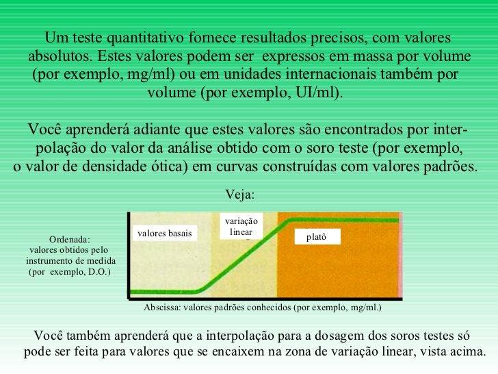 Um teste quantitativo fornece resultados precisos, com valores absolutos. Estes valores podem ser  expressos em massa por ...