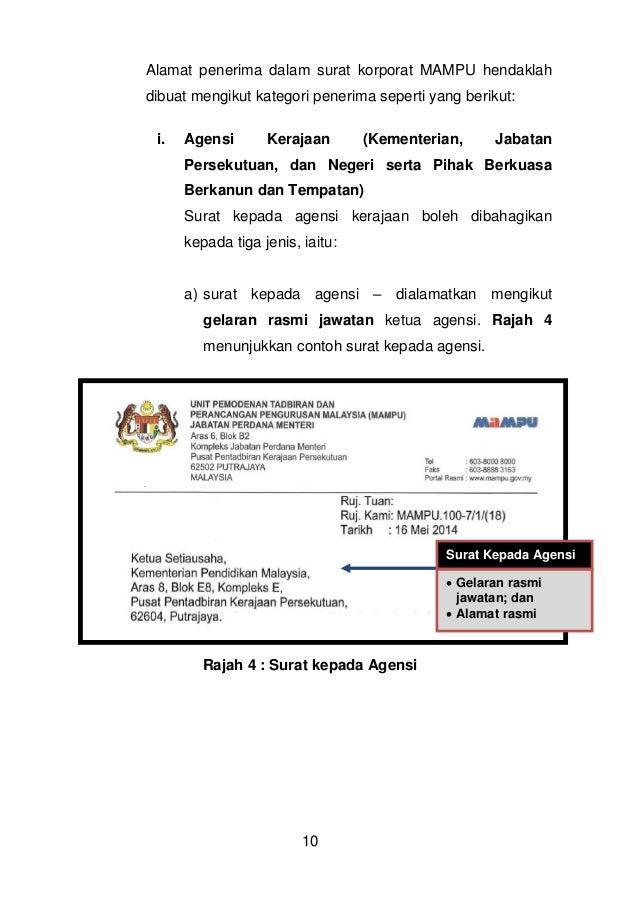 Contoh Surat Rasmi Kepada Ketua Menteri Sabah - Surat OO