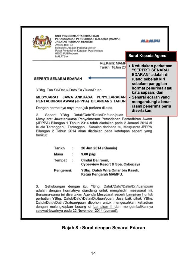 Surat Rasmi Kepada Ketua Menteri Sarawak Rasmi O