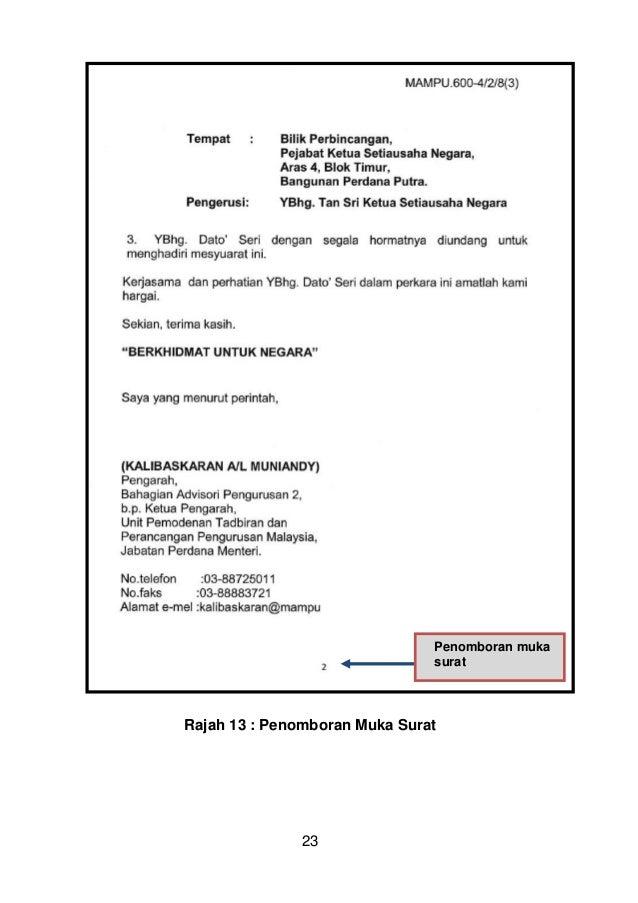 Surat Rasmi Tandatangan Bagi Pihak Surat Cc