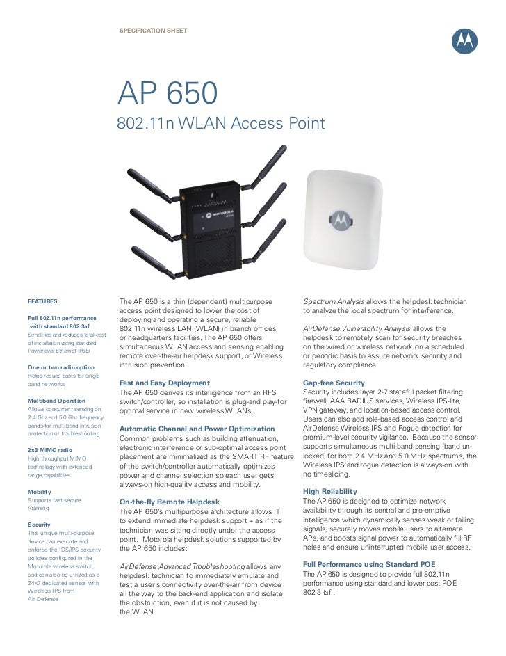 SPECIFICATION SHEET                                    AP 650                                    802.11n WLAN Access Point...
