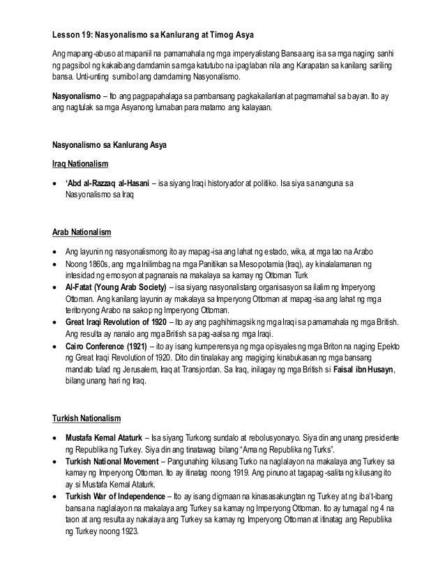 Lesson 19: Nasyonalismo sa Kanlurang at Timog Asya Ang mapang-abuso at mapaniil na pamamahala ng mga imperyalistang Bansa ...