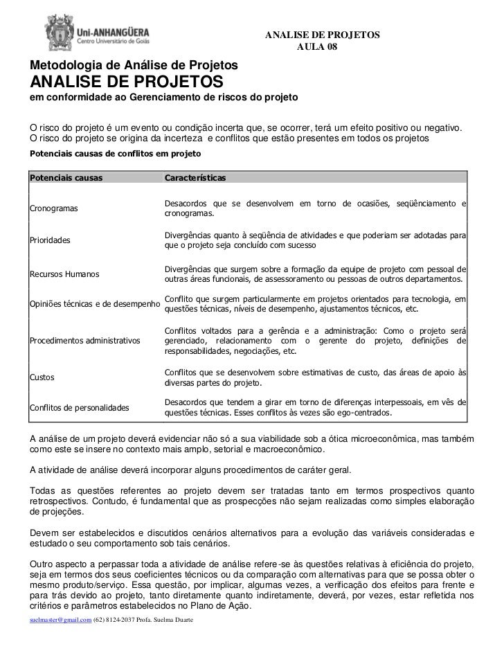 ANALISE DE PROJETOS                                                                             AULA 08Metodologia de Anál...