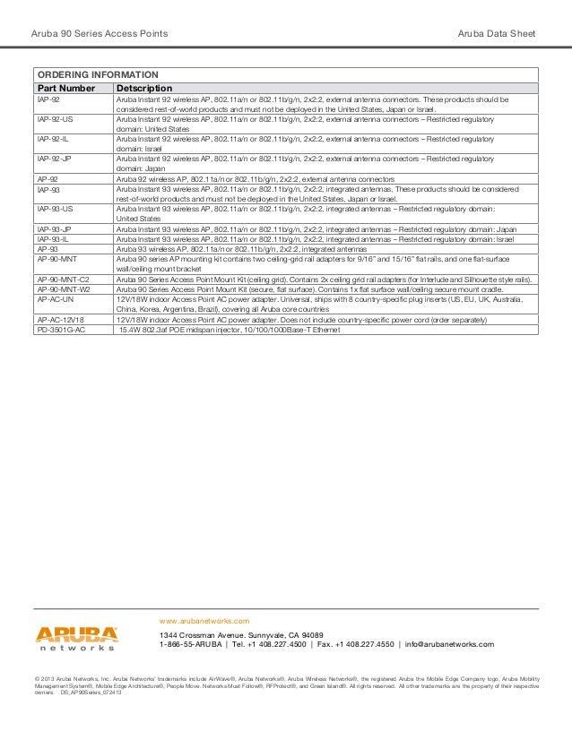 Aruba 90 Series Access Points Aruba Data Sheet © 2013 Aruba Networks, Inc. Aruba Networks' trademarks include AirWave®, Ar...