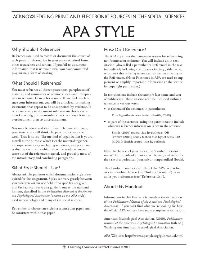 Learning Commons Fastfacts Series ©2011How Do I Reference?The APA style uses the name-year system for referencing,not foot...