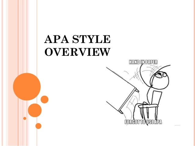 APA STYLE OVERVIEW