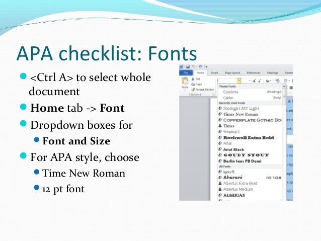 apa format font style and size