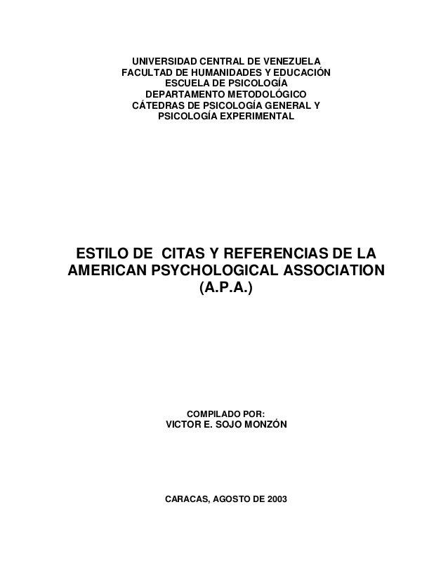 UNIVERSIDAD CENTRAL DE VENEZUELA FACULTAD DE HUMANIDADES Y EDUCACIÓN ESCUELA DE PSICOLOGÍA DEPARTAMENTO METODOLÓGICO CÁTED...