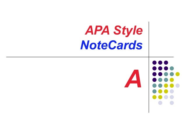 APA Style NoteCards  A