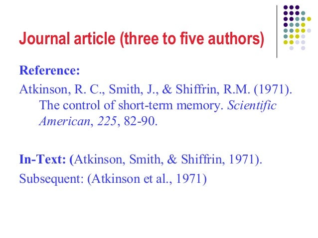 Apa citation journal article several authors discovery education student login code