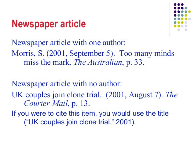 how to reference newspaper articles apa 6th