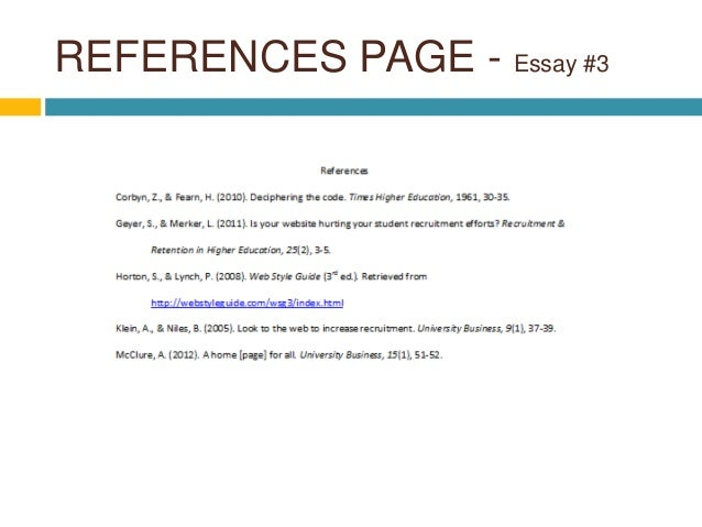 reference page for essay example