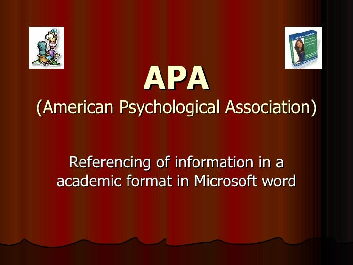 APA (American Psychological Association) Referencing of information in a academic format in Microsoft word