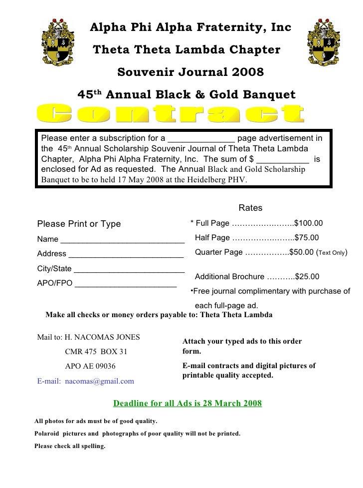 Contract Alpha Phi Alpha Fraternity, Inc Theta Theta Lambda Chapter  Souvenir Journal 2008 45 th  Annual Black & Gold Banq...
