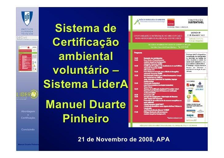 Sistema de                           Certificação                             ambiental                            voluntá...