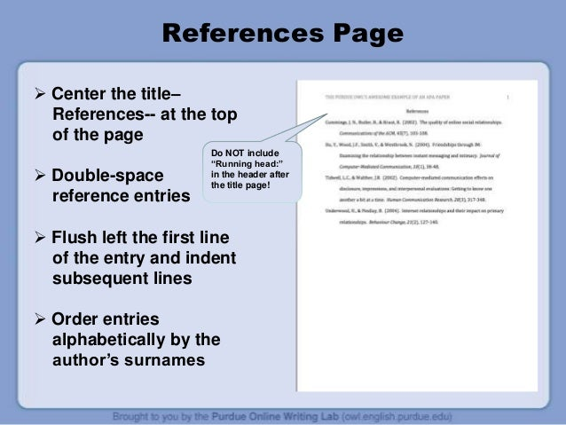 apa thesis reference page