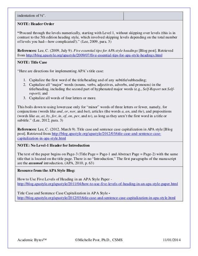 apa 6th headings