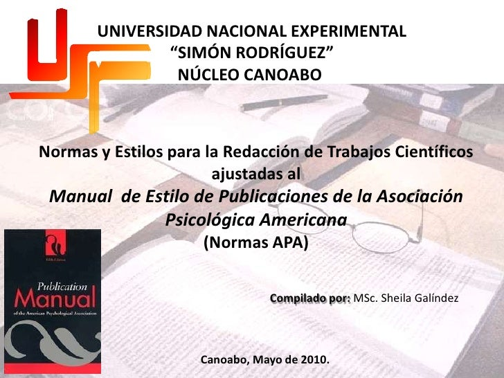 """UNIVERSIDAD NACIONAL EXPERIMENTAL<br />""""SIMÓN RODRÍGUEZ""""<br />NÚCLEO CANOABO<br />Normas y Estilos para la Redacción de Tr..."""