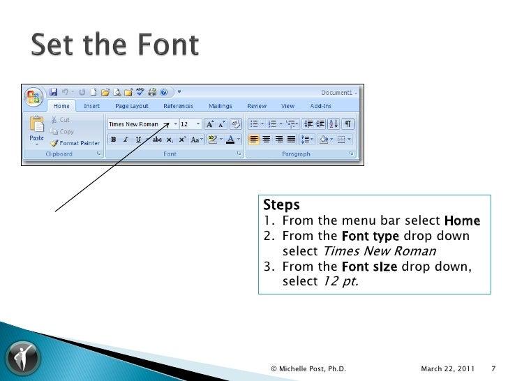 apa font style