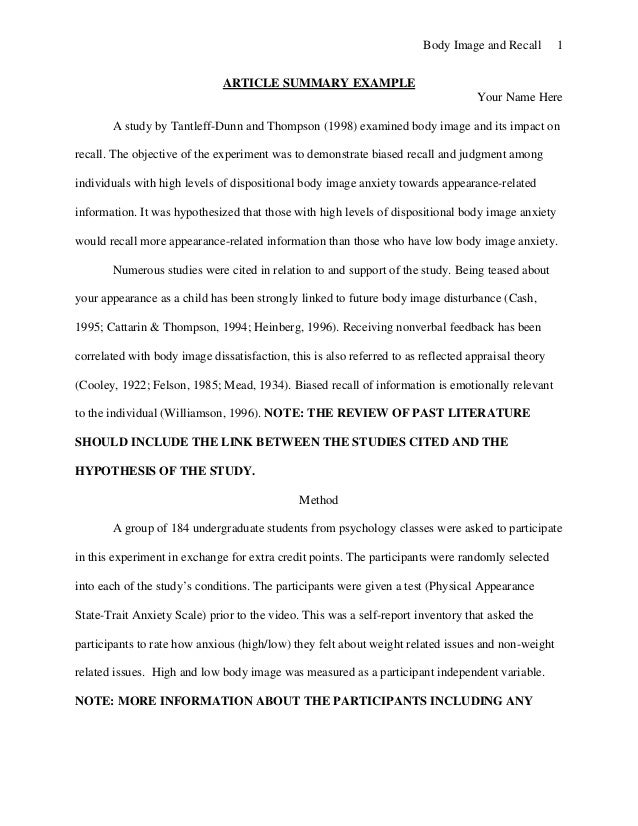 Writing article summary template master thesis on image processing