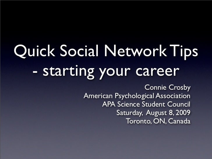Quick Social Network Tips - starting your career
