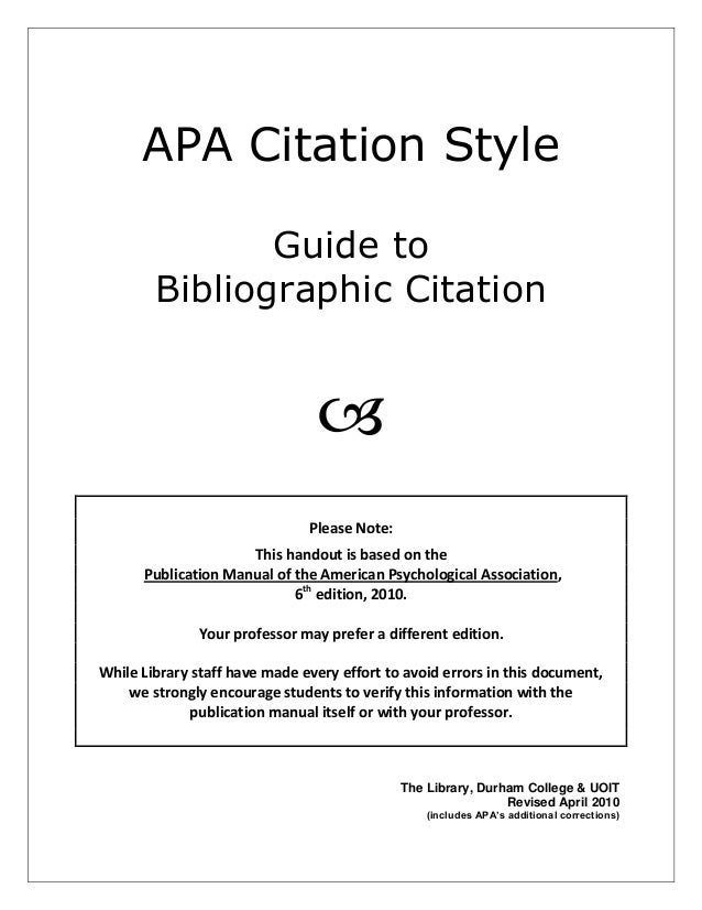 apa style citation 6th edition guide 2 0 rh slideshare net apa manual 6th edition book citation APA 6th Edition Citation Examples