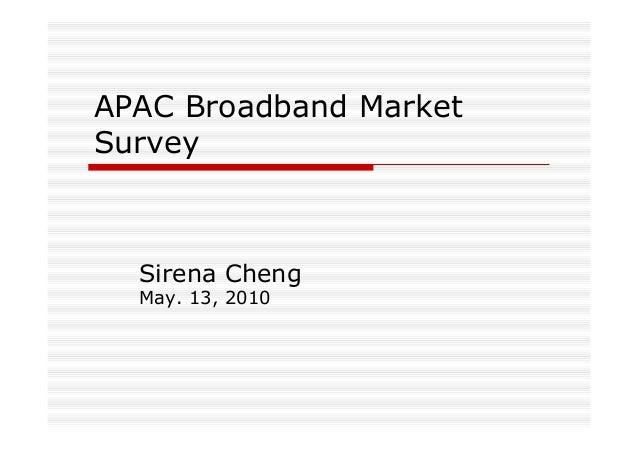 APAC Broadband Market Survey Sirena Cheng May. 13, 2010