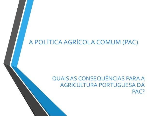 A POLÍTICA AGRÍCOLA COMUM (PAC)  QUAIS AS CONSEQUÊNCIAS PARA A AGRICULTURA PORTUGUESA DA PAC?