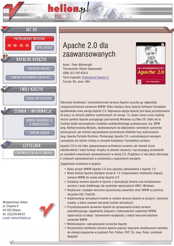 IDZ DO          PRZYK£ADOWY ROZDZIA£                             SPIS TRE CI     Apache 2.0 dla                           ...
