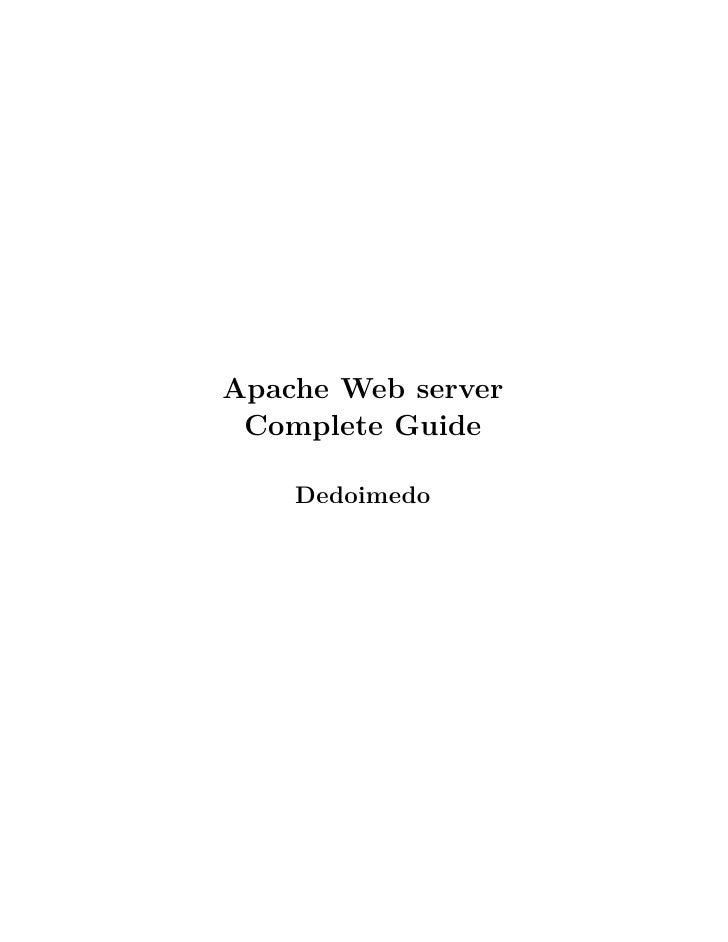 Apache Web server  Complete Guide      Dedoimedo
