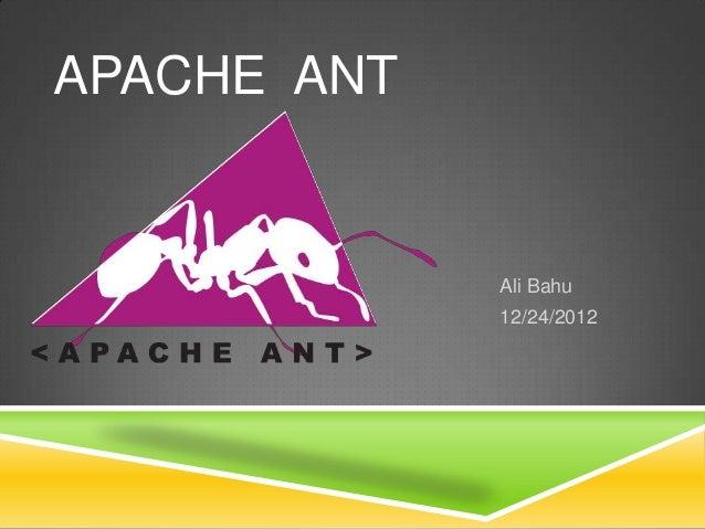 Ali Bahu12/24/2012APACHE ANT