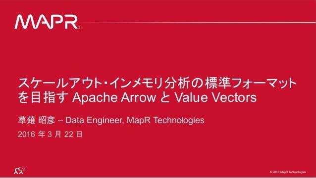 © 2016 MapR Technologies 1© 2016 MapR Technologies 1© 2016 MapR Technologies スケールアウト・インメモリ分析の標準フォーマット を目指す Apache Arrow と ...