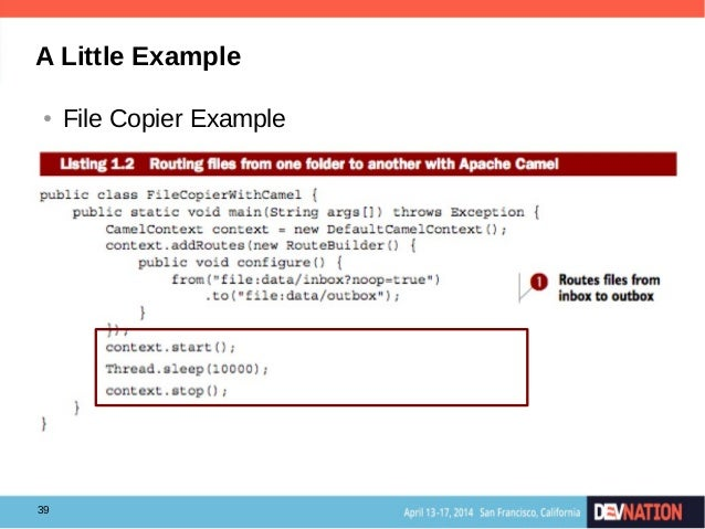 Getting started with apache camel at devnation 2014 39 a little example file copier example malvernweather Choice Image