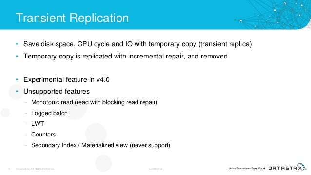 Transient Replication • Save disk space, CPU cycle and IO with temporary copy (transient replica) • Temporary copy is repl...