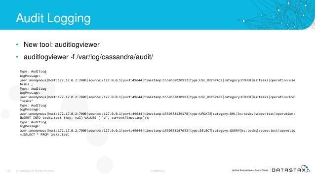 Audit Logging • New tool: auditlogviewer • auditlogviewer -f /var/log/cassandra/audit/ 20 © DataStax, All Rights Reserved....