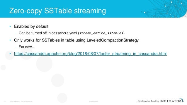 Zero-copy SSTable streaming • Enabled by default – Can be turned off in cassandra.yaml (stream_entire_sstables) • Only wor...