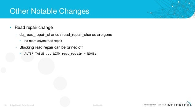 Other Notable Changes • Read repair change – dc_read_repair_chance / read_repair_chance are gone • no more async read repa...