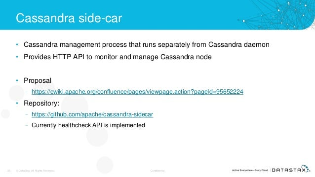 Cassandra side-car • Cassandra management process that runs separately from Cassandra daemon • Provides HTTP API to monito...