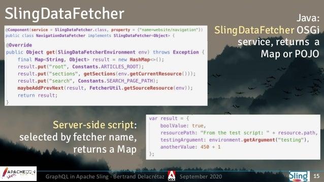 GraphQL in Apache Sling - Bertrand Delacrétaz September 2020 SlingDataFetcher 15 Java: SlingDataFetcher OSGi service, ret...