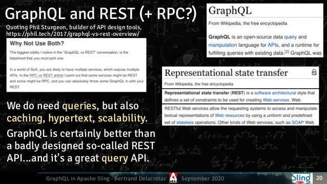 GraphQL in Apache Sling - Bertrand Delacrétaz September 2020 GraphQL and REST (+ RPC?) 20 Quoting Phil Sturgeon, builder o...