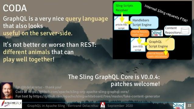 GraphQL in Apache Sling - Bertrand Delacrétaz September 2020 CODA GraphQL is a very nice query language that also looks u...